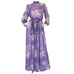 1970s Hanae Mori Romantic Pale Purple Print Chiffon Dress