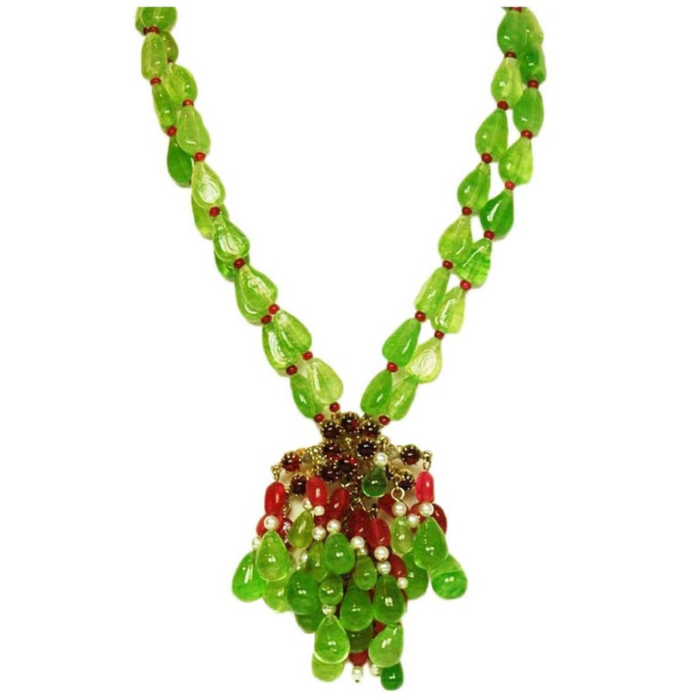 CHANEL Green & Red Glass Bead Double Strand Necklace 1