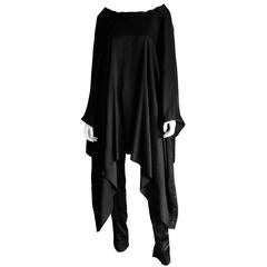 Free Shipping: Tom Ford Gucci FW 2002 Black Silk Gothic Lace Up Poncho IT 40