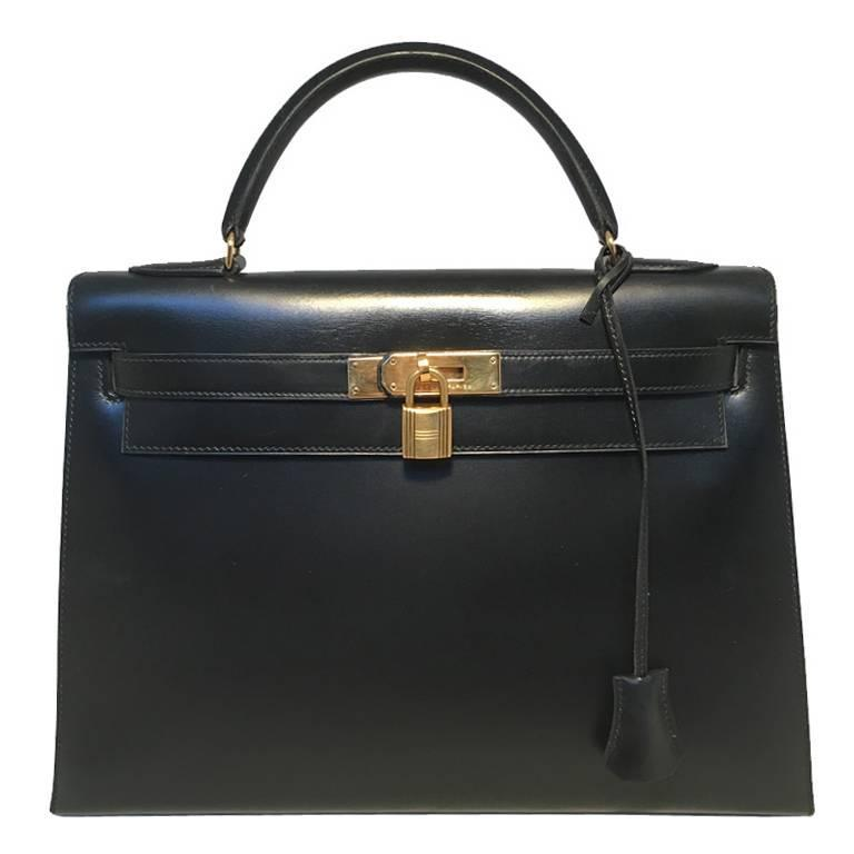 Hermes Vintage Black Box Calf 32cm Kelly Bag
