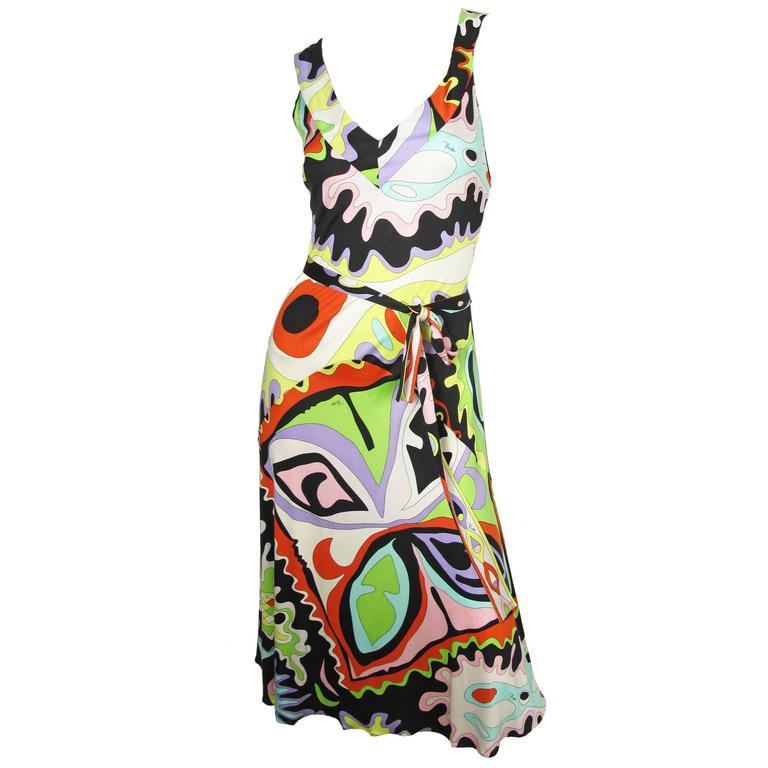 Pucci Silk Printed Tank Dress  For Sale