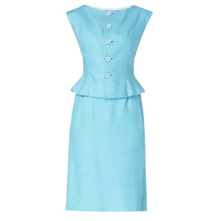 Norman Norell blue skirt suit, circa 1965 For Sale