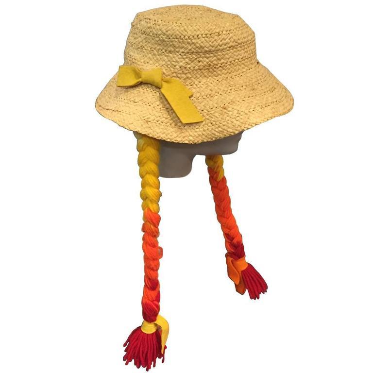 1960s Mr. Kenneth Straw Beach Hat w Red, Orange and Yellow Ombré Yarn Braids
