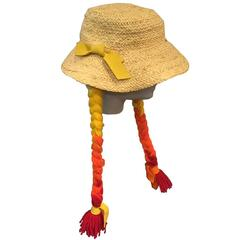 1960s Mr. Kenneth Straw Beach Hat w Red, Orange and Yellow Ombré Yarn Braids