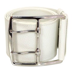 Hermes White Leather Thick Entriviere Belt sz 90