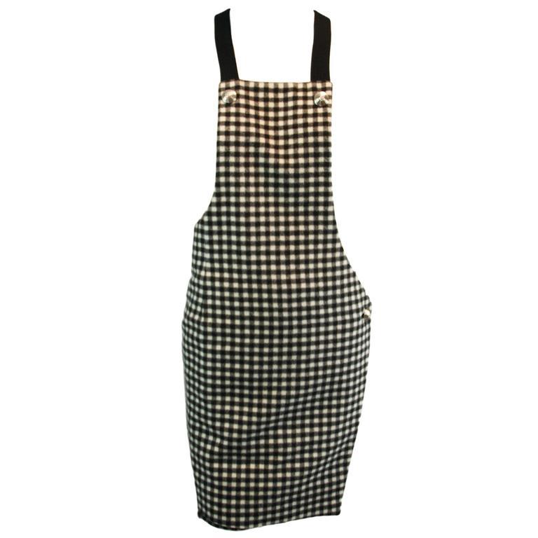 S/S 1994 Gianni Versace Checkered Overalls Wool & Cashmere Mini Dress