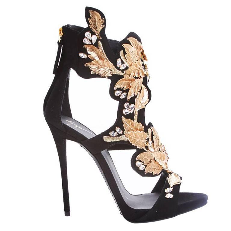 Giuseppe Zanotti NEW SOLD OUT Black Suede Gold Leaf Rhinestone Heels in Box For Sale