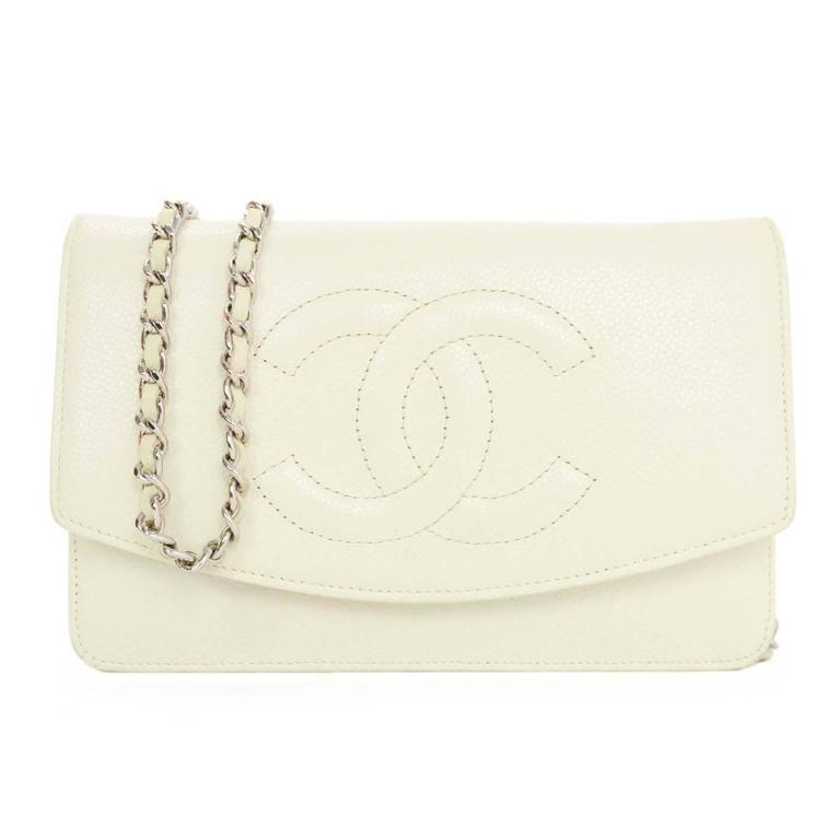 d3557e522775 Chanel Ivory Caviar Timeless Wallet On Chain WOC Crossbody Bag SHW For Sale