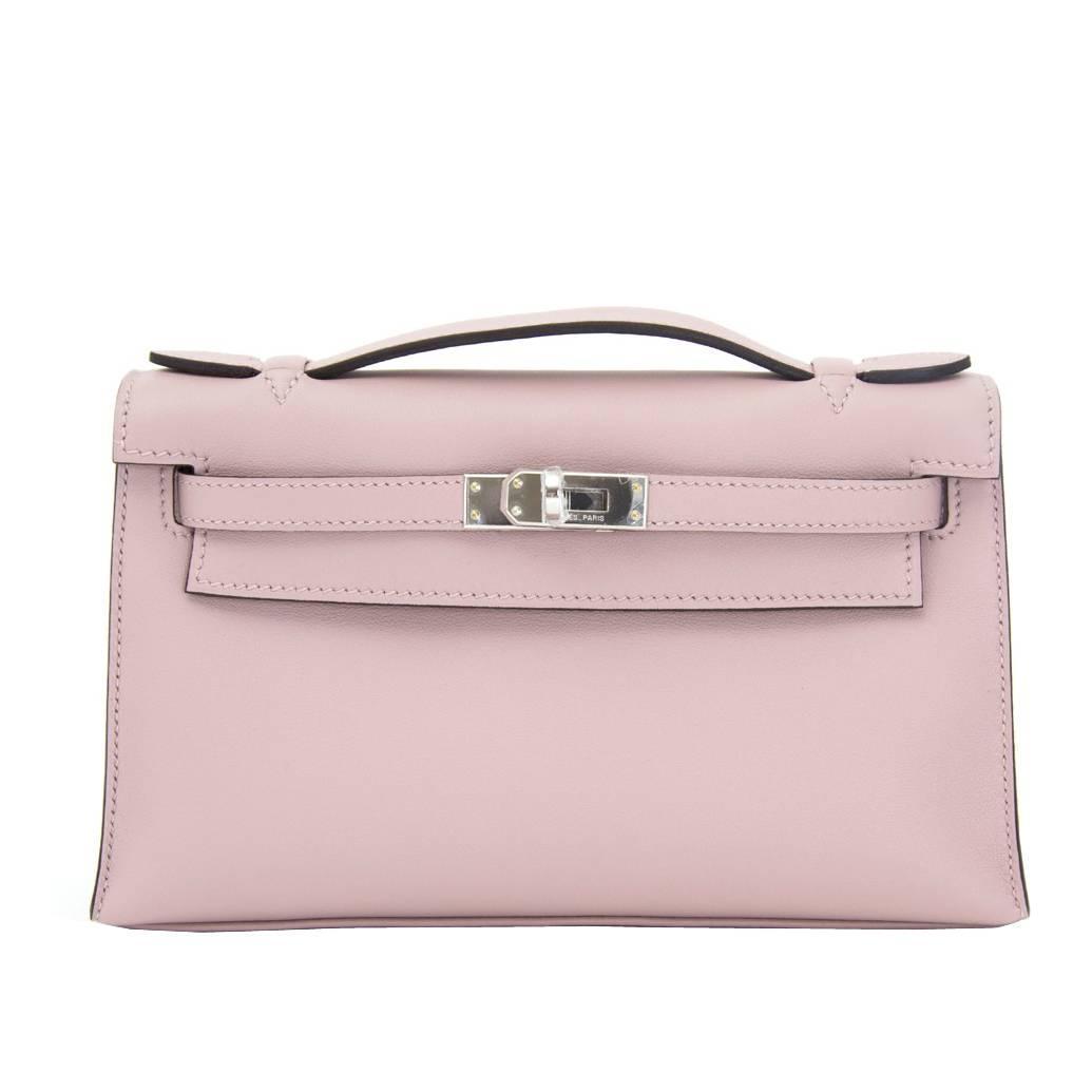 0bac8487d9 Brand New Hermes Kelly Pochette Bag Mini Swift Glycine at 1stdibs