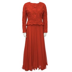 1980's Scaasi Red Lace and Satin Gown With Jacket