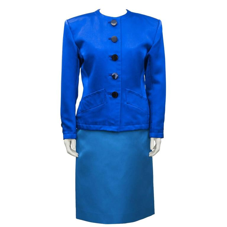 1980's Yves Saint Laurent/YSL Shades of Blue Skirt Suit