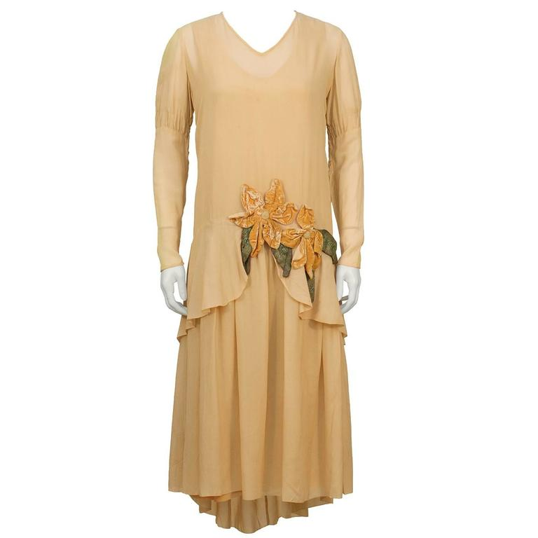 1920's Peach Chiffon and Velvet Flapper Dress and Hat