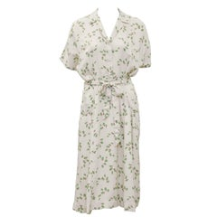 1940's Beige and Floral Shirtwaist Dress with Belt