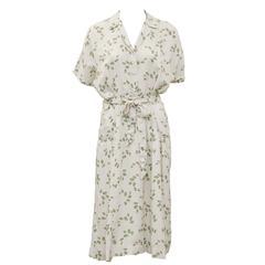 1940's Beige and Floral Shirtwaist Dress with Belt