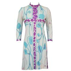 1960's Bessi Blue Leaf Print Silk Jersey Dress