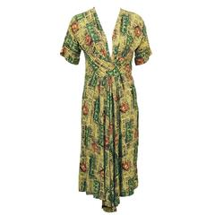 1940's Yellow and Green Rayon Printed Dress