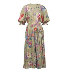 1970's Chloe Taupe and Floral Silk Skirt Ensemble