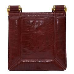 1940's Modernist Burgundy Lizard Handbag