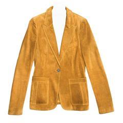 Gucci Ochre Suede Single Breasted Blazer