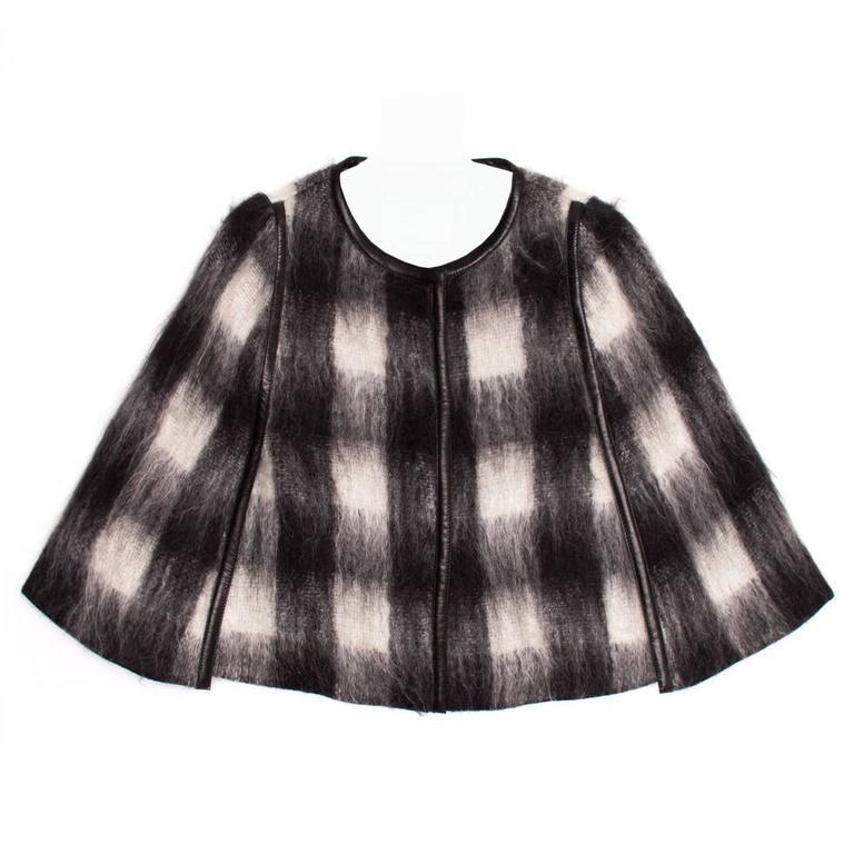 Prada Black & White Mohair Caplet For Sale