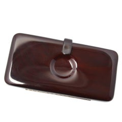 Italian Dark Brown Lucite Clutch with Circle Indent, 1970s