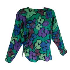 Flora Kung Floral Silk Jacquard Blouse Emerald Green + Purple Pink 1980s Size 8