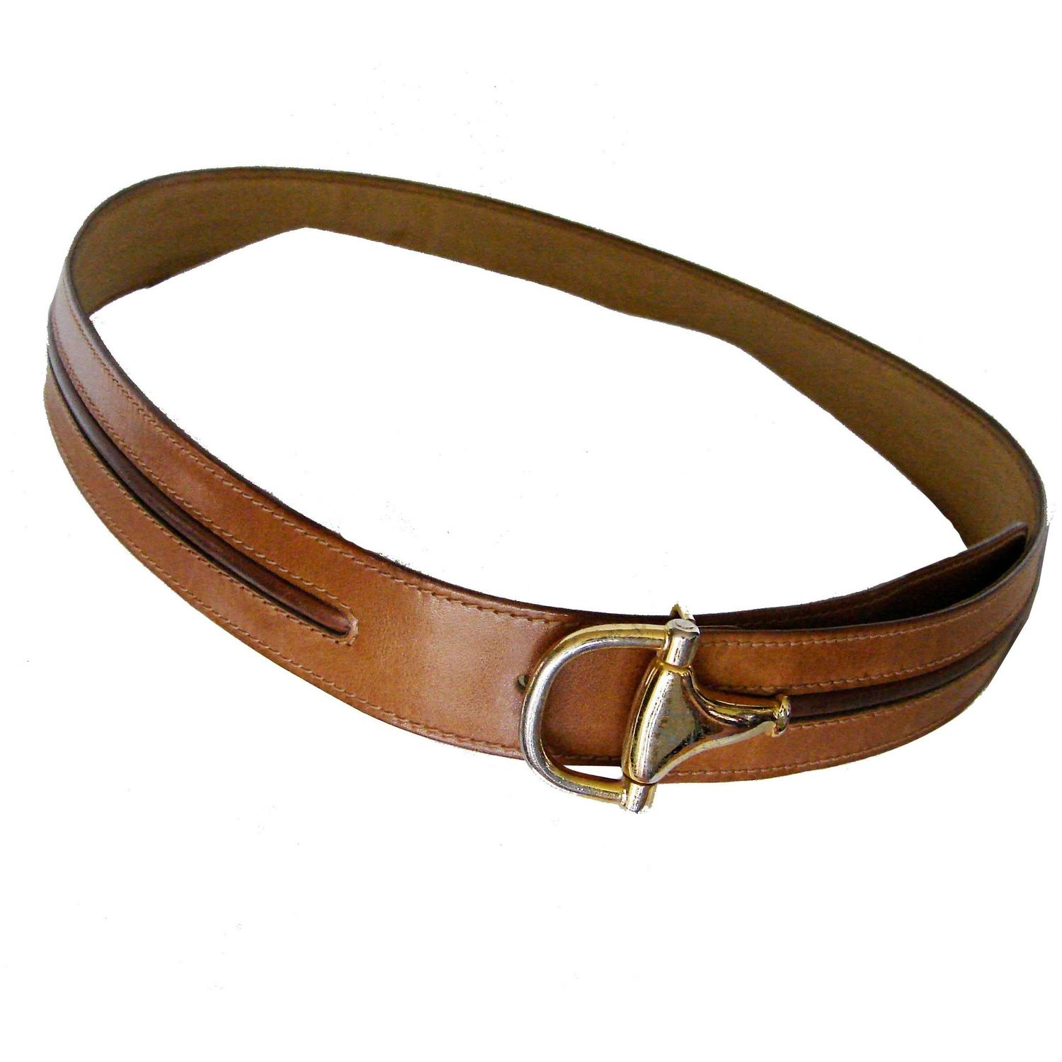 Gucci Tan and Brown Leather Belt with Horse Bit Buckle ...