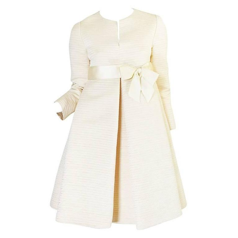 1960s Couture Gustave Tassell Pleated Silk Dress 1