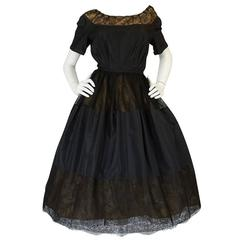 c1959 Gustave Tassell Couture Fine Silk Taffeta and Lace Dress