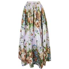 1970s Bill Blass Polished Cotton Pink Floral Skirt