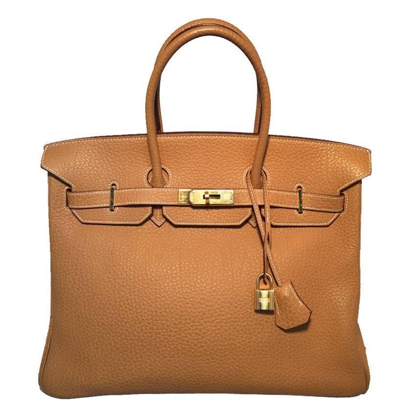 Hermes Sable Clemence Leather 35cm Birkin Bag W Palladium