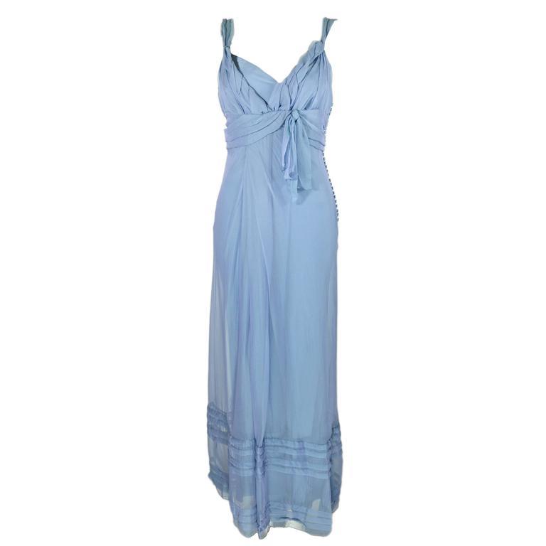 Christian Dior by John Galliano Silk Chiffon Ciel Bleu Maxi Dress  1