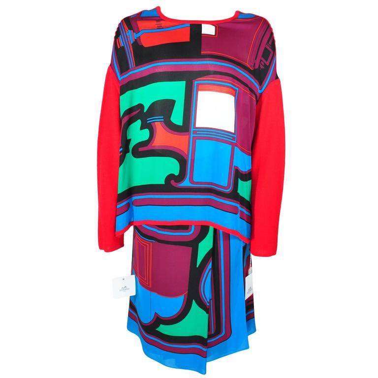 Hermes 2015 Multi-colored Print Silk Knit Top & Skirt  FR34 New For Sale