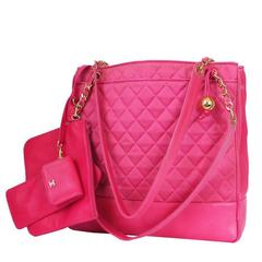 Vintage Chanel Hot Pink Large Shopping Tote Bag