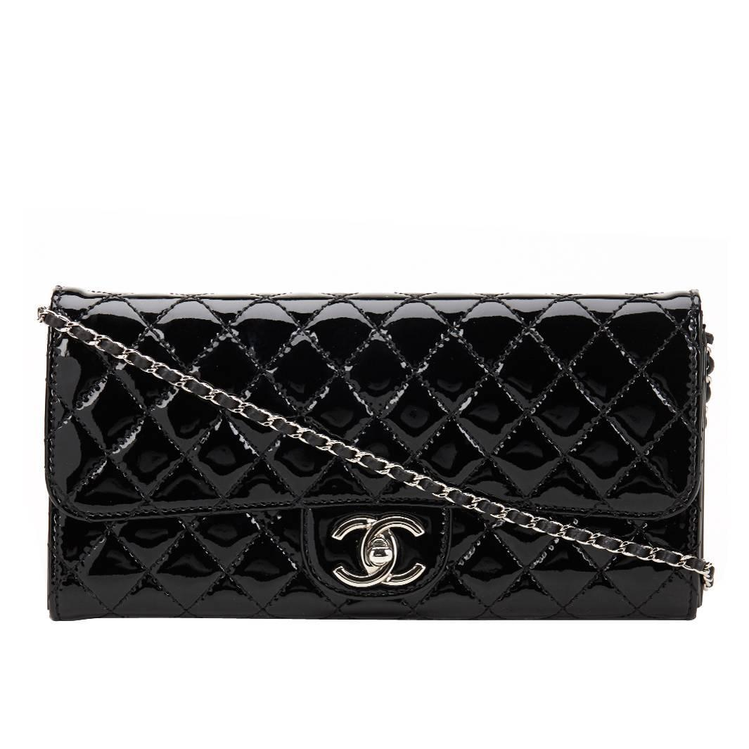768a99394b1d9f 2014 Chanel Black Patent Leather Wallet-on-Chain WOC at 1stdibs