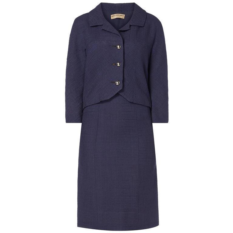 Balenciaga haute couture navy skirt suit, circa 1963