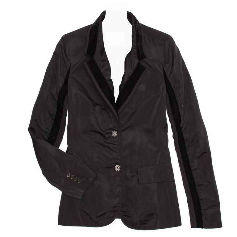 d91890e63c Yves Saint Laurent Black Silk Fitted Tuxedo Style Jacket