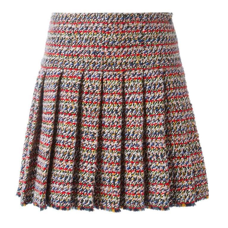 chanel pleated tweed skirt at 1stdibs