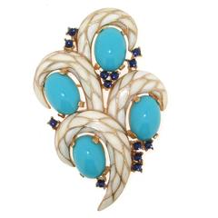 Vintage White Enamel and Turquoise Brooch by Trifari L'Orient Collection 1968