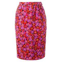 Yves Saint Laurent Vintage Floral Pencil Skirt