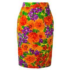 Givenchy Vintage Floral Print Pencil Skirt