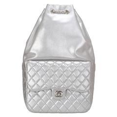 Chanel Silver Metallic Lambskin Large Backpack