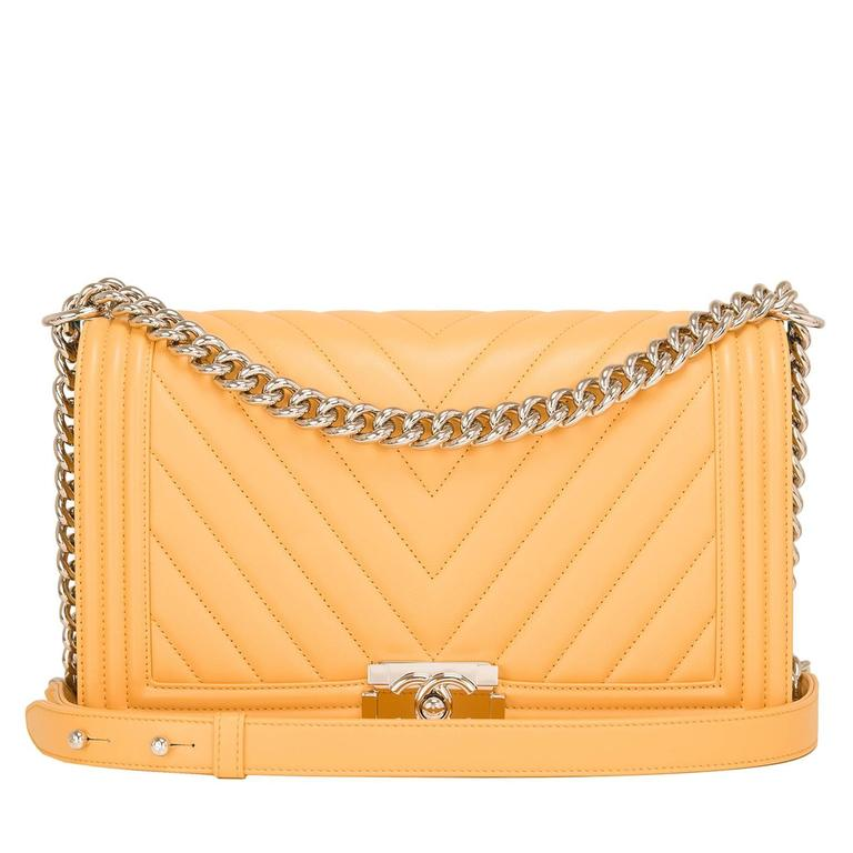 Chanel Yellow Chevron Quilted Lambskin New Medium Boy Bag For Sale