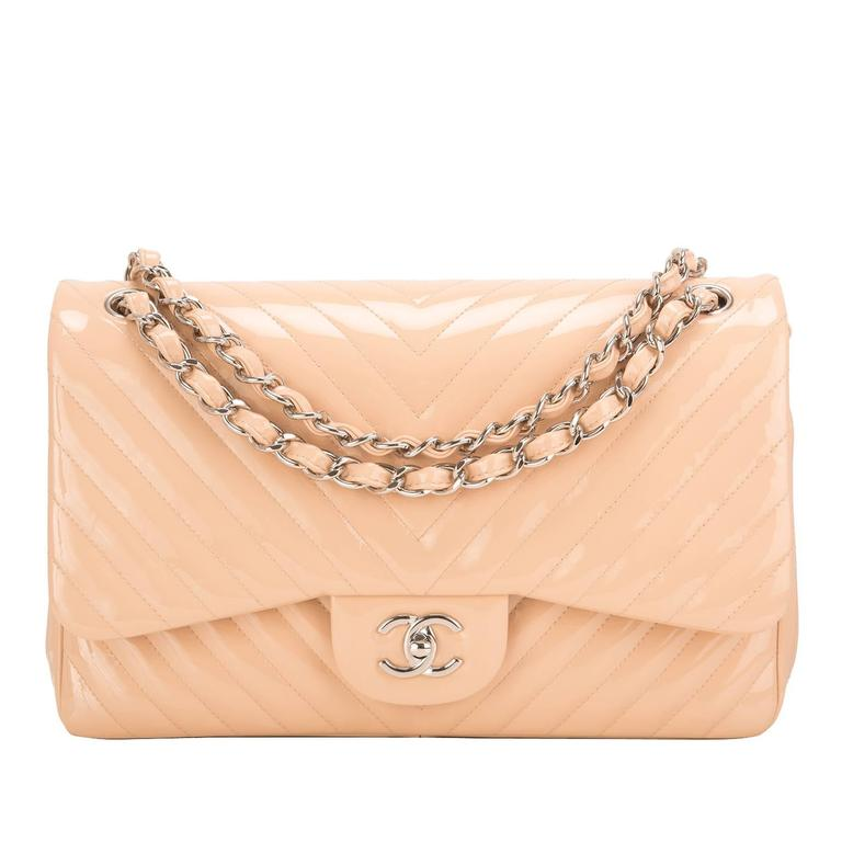Chanel Beige Patent Chevron Jumbo Classic Double Flap Bag For Sale