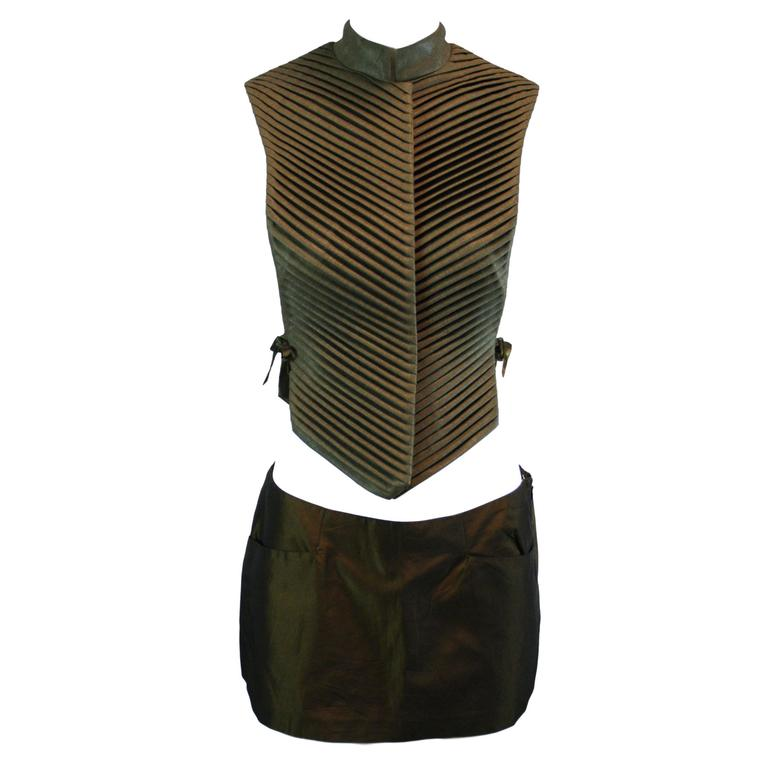 F/W 1999 & S/S 1997 Alexander McQueen Chinese Armor Vest Bumster Mini Skirt Set