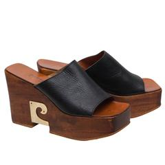 1970's Pierre Cardin Wooden Heeled Wedge Shoes