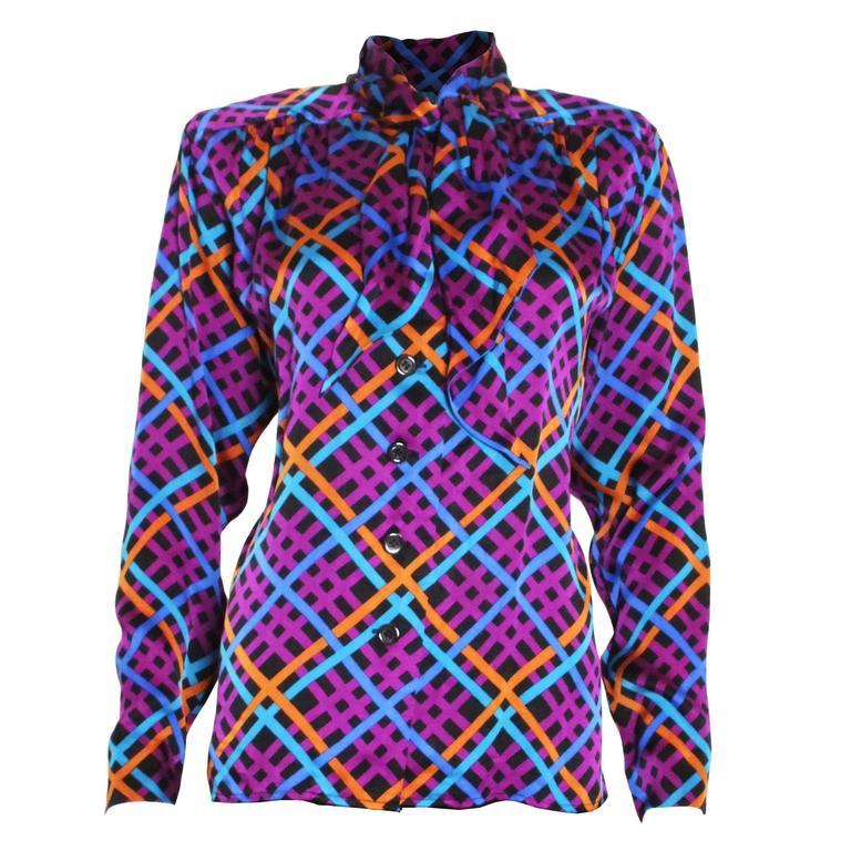 1980s Saint Laurent Rive Gauche Silk  Blouse
