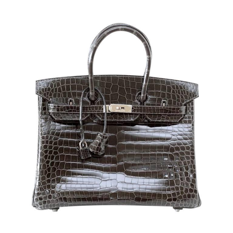 Hermes Birkin 35 Bag Graphite Gray Porosus Crocodile Palladium Rare