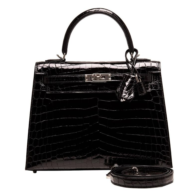 Hermes Black Shiny Niloticus Crocodile Kelly Sellier 25cm For Sale