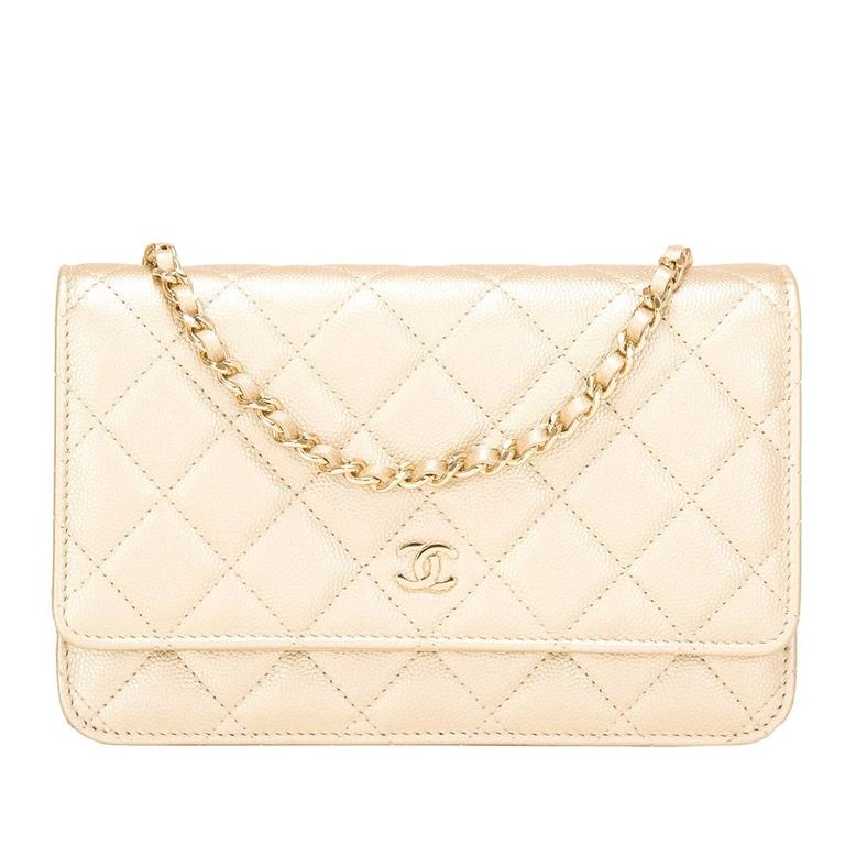 Chanel Gold Quilted Caviar Classic Wallet On Chain (WOC) For Sale